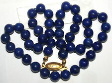 VINTAGE 43cm LAPIS LAZULI 8.3mm BEADS SILVER Gold PL CLASP KNOTTED NECKLACE 36gr