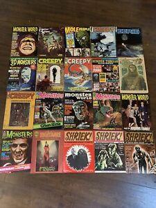 20 Vintage Monster Horror Magazines Famous Monsters 3D Monsters Eerie VG/FN Lot