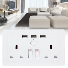 Double Wall Socket 2 Gang with 3 USB Charger Port White Outlet Plug Surround 13A