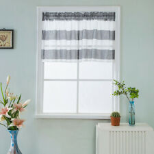 Kitchen Rod Pocket Half Curtain Striped Window Valance Sheer Voile Half Curtain