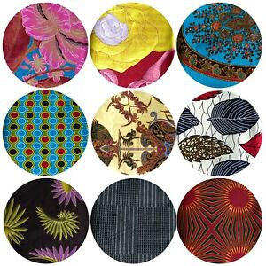 African Wax Printed Cotton Fabrics Ankara Cloth Vibrant Colour 1 Yard to 6 Yards