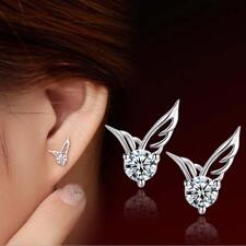 Women Angel Wing Earrings 925 Sterling Silver Crystal Butterfly Studs Ear Stud