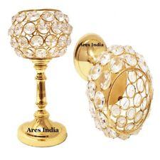 Set of 2 Crystal Votive Tealight Candle Holder Centerpiece Candelabra Gold Color