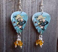 Ms. Marvel Guitar Pick Earrings with Yellow Swarovski Crystal Dangles