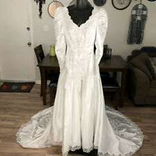 Alfred Angelo Dream Maker Vintage White Wedding Dress Womens XS 80s Lace Beaded