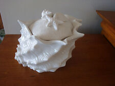 """Blue Sky White """"Seawave"""" Conch Shell Canister Tropical not air-tight"""