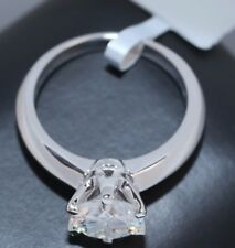 1 CT ROUND CUT DIAMOND SOLITAIRE ENGAGEMENT RING 14K WHITE GOLD ENHANCED Sz 5.5