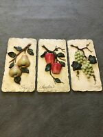 Decorative Plaster Painted Grapes-Apples-Pears Molded Wall Hanging Decoration