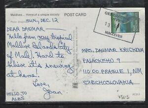 MALDIVE ISLANDS (P0908B) 1992 3R BIRD ON PPC  TO  CZECHOSLOVAKIA