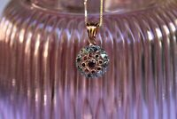 Chaîne argent or rose Pendentif Rubis Style ancien