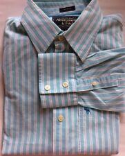 Abercrombie & Fitch Men Dress Shirt Muscle Fit L Turquoise Stripe White Cotton