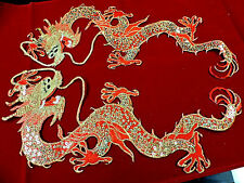 DRAGON IRON ON SEQUIN EMBROIDERED APPLIQUE PAIR 3342-Z
