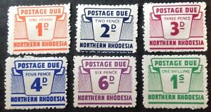 Northern Rhodesia 1963 Set Of 6 Postage Due stamps mint hinged