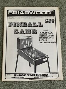 Vintage Briarwood Super Star Pinball Game Owner's Manual Booklet Advertising