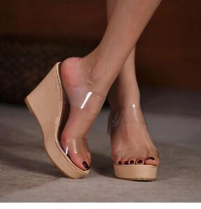 Womens Summer Clear Peep Toe Wedge High Heels Beach Platform Slippers Shoes Size