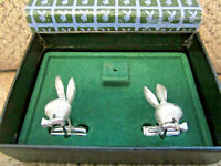 Fathers Day gift vintage silver playboy bunny cufflinks in original box