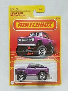 NEW 2021 MATCHBOX METAL 1972 FORD BRONCO 4X4 PURPLE 1:64
