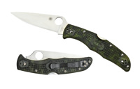 Spyderco c10zfpgr endura flat ground zome green frn plain edge folding knife.