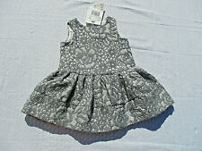 New CHICCO Dress Girls Sz 9 mos (68) Gray Silver Lined Full Skirt Special NWT