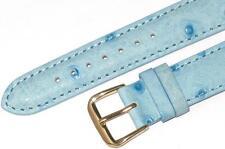 WATCH BAND BLUE GENUINE LEATHER OSTRICH GRAIN 14MM