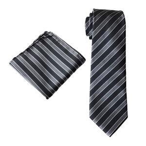 Men Classic Striped Wide 8CM Neckties Handkerchief Wedding Party Ties Hanky Set