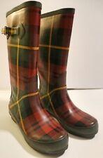 Women's LL Bean Wellies Green Red Black Plaid Rubber Tall Rain Boots Sz 7 M