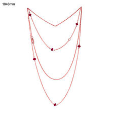Natural Ruby Beads 18K Rose Gold Designer Rope/Lariat Necklace Women'S Jewelry