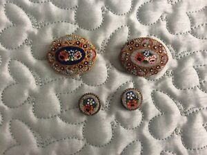2 Vintage Italian Floral Micro Mosaic Brooches and 1 pair Clip on Earrings.