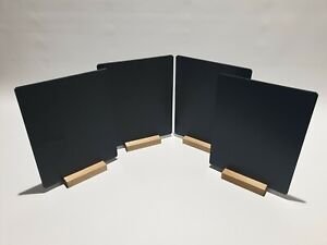 A4 x6 TABLE TOP CHALKBOARDS +A PACK OF 8 COLOUR LIQUID CHALK PENS - STAINED BASE
