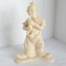 Alabaster Clown Figurine Saxophone Sax Music Musical Sculpture Beige #241 Signed