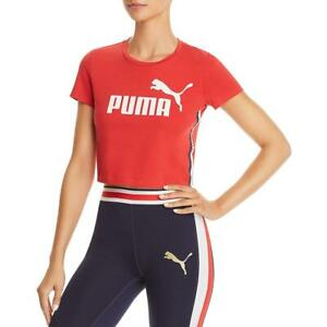Puma Womens Red Fitness Running Workout T-Shirt Athletic L BHFO 5961