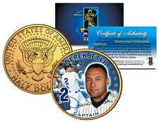 DEREK JETER * CAPTAIN * Colorized JFK Half Dollar 24K Gold Plated Coin YANKEES