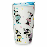 NWT Disney Parks Minnie Mouse Ceramic Tumbler with Lid Coffee Soup Mug