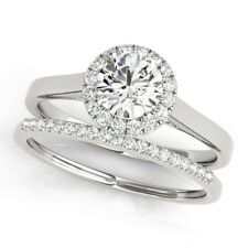 1.15 Ct Round Band Set Vvs1 Diamond Engagement Rings 14K Solid White Gold Size 6