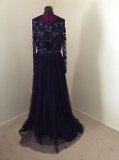 NWT Needle & Thread $450 Embellished Butterfly Gown*Midnight*12 US