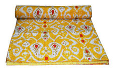Indian Handmade Yellow Ikat Print Kantha Quilt Bedspread Throw Cotton Blanket