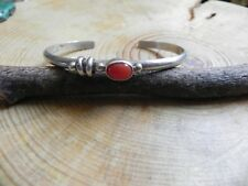 Coral & Sterling Silver Cuff Bracelet by L E Nelson Navajo