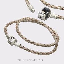 "Pandora Sterling Silver Double Champagne Leather 15.0"" Bracelet 590705CPL-D2"