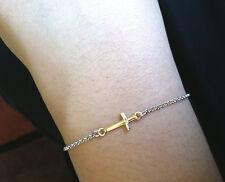 7.5 inch Italian .925 Sterling Silver Sideways Cross Gold Plated Charm Bracelet