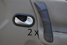 grey stitch FITS RENAULT GRAND SCENIC 04-09 2X DOOR HANDLE LEATHER COVERS