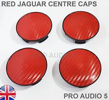4x Jaguar fibre de carbone Red Wheel Centre Caps 59 mm XJ XJR S-UK Post