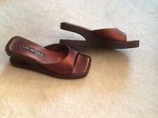 """VIA SPIGA Italian Bronze 3"""" wooden peek a boo heels square toe sandals RARE 7 B"""