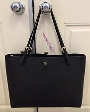 Tory Burch York Buckle Tote In Tory Navy Blue Saffiano Leather MSRP $295 Genuine