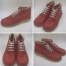 Kickers Size 9 43 High Classic Red Leather Ankle Boots Shoes Unisex
