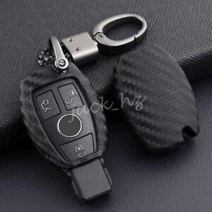 For Mercedes-Benz W204 W205 W212 X156 W166 Carbon Fiber Car Key Fob Case Cover