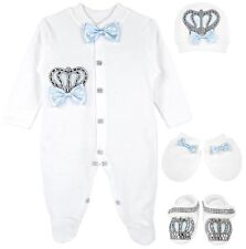 Lilax Baby Boy Jewels Crown Layette 4 Piece Gift Set 0-3 M Blue