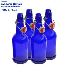 Blue Glass Solar Water Bottles, Blue Glass Bottles, (16 oz), EZ-Solar, 4 Pack