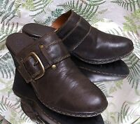 BORN BROWN LEATHER LOAFERS MULES SLIP ON SLIDES DRESS SHOES HEELS WOMENS SZ 10 M