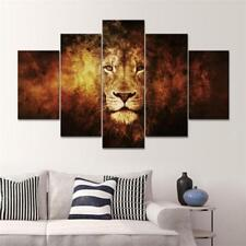 5 Panel Lion Head Canvas Print Wall Art Oil Painting Picture Decor Noframe L