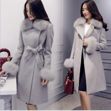 Women Winter Faux Fur Collar Coat Hooded Parka Overcoat Long Jacket Outwear Size